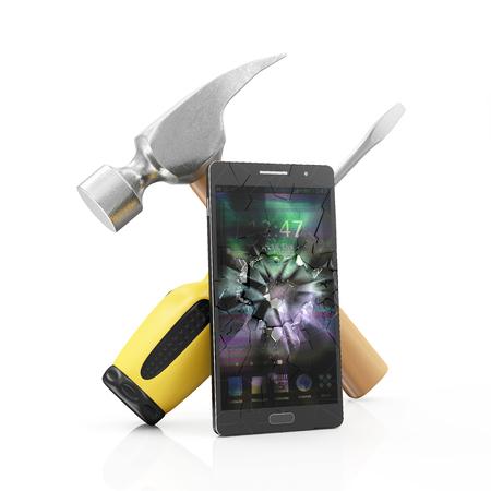 Mobiele Service en Reparatie Concept. Moderne Zwarte Touchscreen Smart Phone Met Gebroken Scherm En Reparatie Symbool: Schroevendraaier Met Een Klemhamer Geïsoleerd op een witte achtergrond