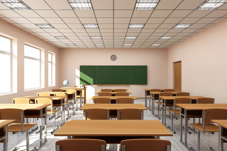 empty board: Modern Classroom 3D Interior in Light Tones. 3D Rendering
