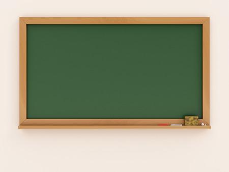 Empty Green Chalkboard or School Blackboard on a Classroom Wall