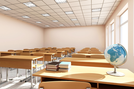 明るい色調でモダンな教室 3 D インテリア。3 D レンダリング 写真素材