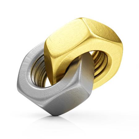 componentes: Materiales de acero con oro tuercas del tornillo icono aislado en el fondo blanco Foto de archivo
