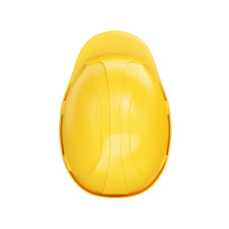 白い背景に分離された黄色の建設安全ヘルメット 写真素材