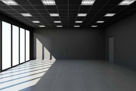 big windows: Modern Empty Black Office Interior with Big Windows. 3D Rendering Stock Photo