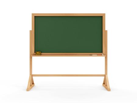 ポータブルの空グリーン黒板または学校黒板チョーク部分と白い背景で隔離のスポンジ。教育コンセプト