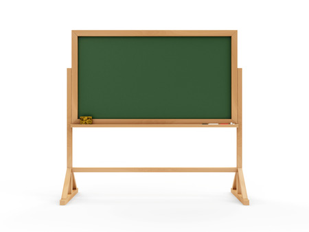 Portable Empty Green Chalkboard or School Blackboard with Piece of Chalk and a Sponge isolated on white background. Education Concept
