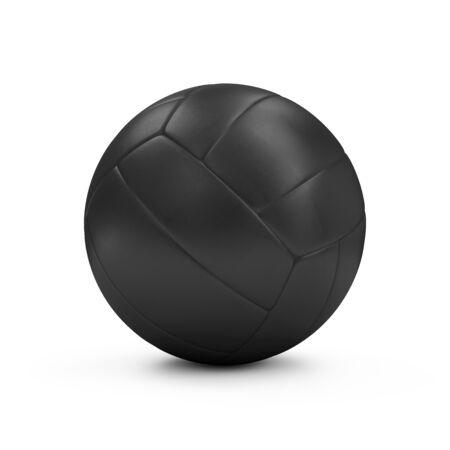 pelota de voley: Cuero negro Voleibol aislado en el fondo blanco Foto de archivo
