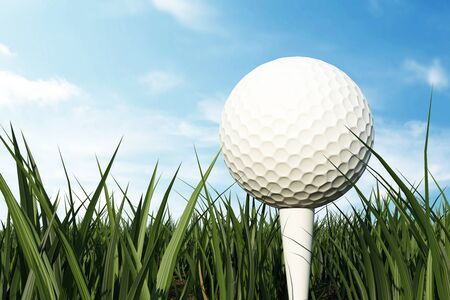 grass field: Golf Ball on White Tee on Green Grass Field on Sunny Day with Clouds behind.