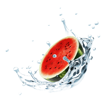 splash of water: Sliced Watermelon Falling into Water Splash isolated on white background Stock Photo