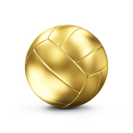 pelota de voley: Cuero de oro de la bola del voleo aislada en el fondo blanco