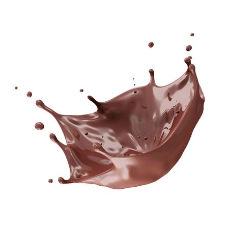 白い背景に分離されたチョコレートのスプラッシュ