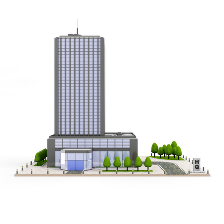 hight tech: Modern Headquarters Building, Contemporary Business Center, Down Town Financial District isolated on white background Stock Photo