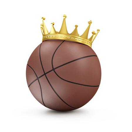 corona rey: Bola del baloncesto de Brown con la corona de oro aislado en el fondo blanco