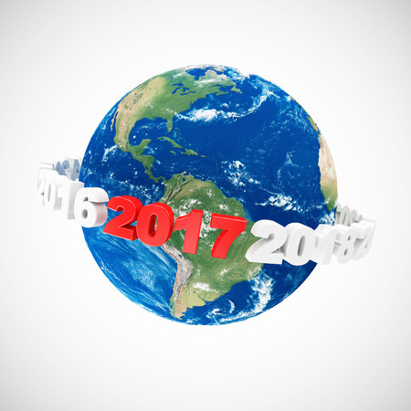 newyear: New Year 2017 Symbol around Earth Planet on gradient background. Elements of this image furnished by NASA. 3D Rendering Stock Photo