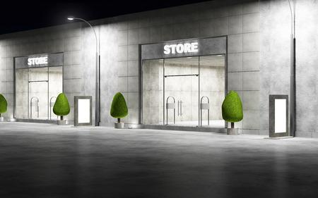 夜に大きな窓のモダンな空き店舗フロント通り。3 D レンダリング