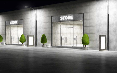 3D rendering: Street with Modern Empty Stores Front with Big Windows at Night. 3D Rendering