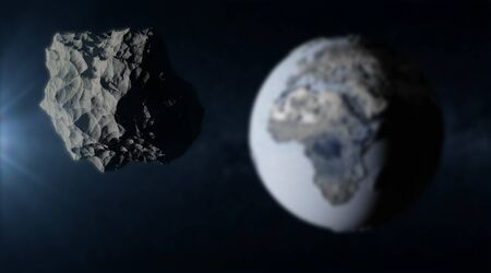 planetoid: Big Asteroid Closing to the Frozen Earth Planet. Apocalypse Concept. Elements of this image furnished by NASA. (Focus on the Asteroid)