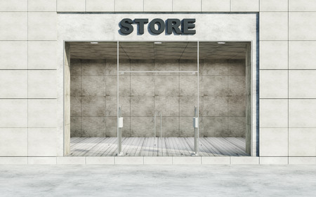Modern Empty Store Front with Big Windows in the Street at Day Light. 3D Rendering