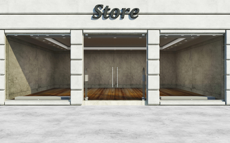 elite: Modern Elite Empty Store Front with Big Windows in the Street at Day Light. 3D Rendering