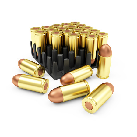 Ammo Pack Box of Gun Bullets 9mm isolated on white background. Military Weapons Concept.