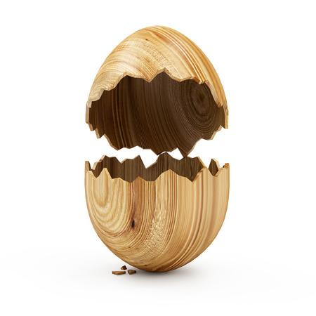 osterei: Happy Easter-Konzept. Leere gebrochen Big Wooden Ei auf weißem Hintergrund. 3D-Rendering Lizenzfreie Bilder