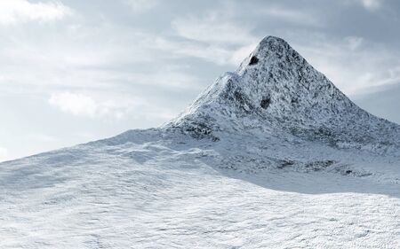 View on the Snow Covered Mountain Peak with Clouds. 3D Rendering Stock Photo