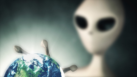 monster movie: Alien holding Earth Planet in the Hand. Selective Focus. 3D Rendering. (Elements of this image furnished by NASA) Stock Photo