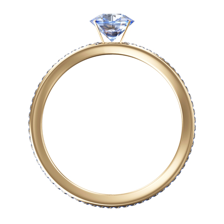 Golden Wedding Ring with Blue Diamonds isolated on white background