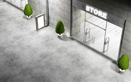 forepart: Street with Modern Empty Stores Front with Big Windows at Night. 3D Rendering