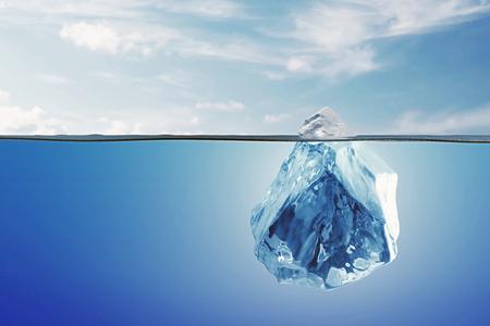 Arctic Landscape with Underwater Iceberg in the Ocean or Sea. 3D Rendering