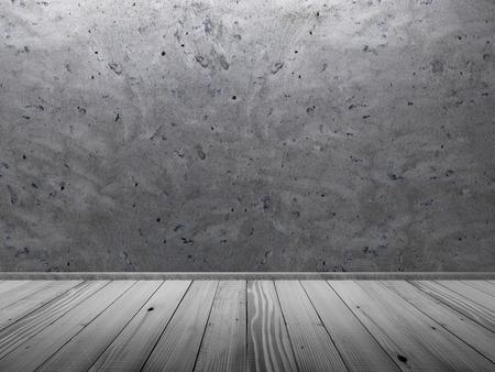 celling: Empty Concrete Room Interior with Wooden Floor. 3D Rendering