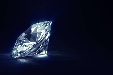 Big Blue Diamond on black background with Glowing Rays and place for Your text 免版税图像