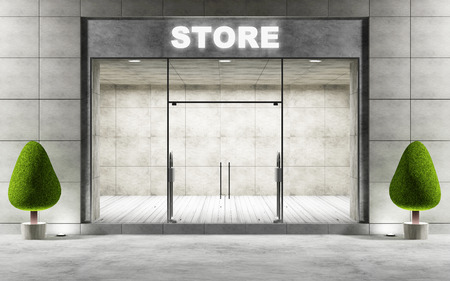 forepart: Modern Empty Store Front with Big Windows at Night. 3D Rendering Stock Photo