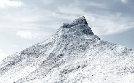 pyramid peak: View on the Snow Covered Mountain Peak with Clouds. 3D Rendering Stock Photo