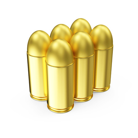 9mm ammo: Group of Gun Bullets 9mm isolated on white background. Military Weapons Concept.