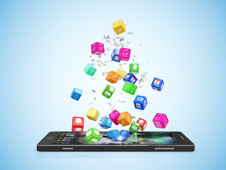 Mobile Application Software Concept. Different Colorful App Cubes Breaking Through From Modern Touchscreen Smart Phone Display on blue gradient background Stock Photo