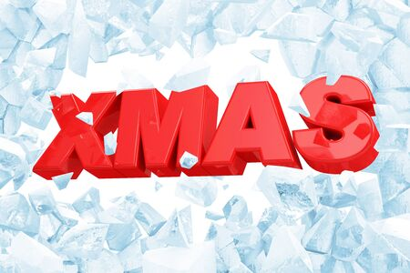 Merry Christmas XMAS Symbol Breaking Through from Blue Ice Wall isolated on white background. 3D Rendering