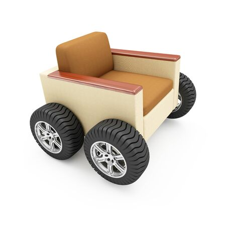 delivery room: Moving to a New Residence or Furniture Transportation Concept. Modern Armchair on Wheels isolated on white background