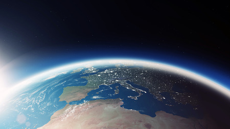Close-up View of Amazing Earth Planet in Space. 3D Rendering. Reklamní fotografie