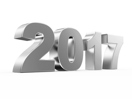newyear: Silver New Year 2017 Symbol isolated on white background. 3D Rendering