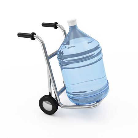 Hand truck with Big Bottle of Water isolated on white background. Delivery Concept. 3D Rendering