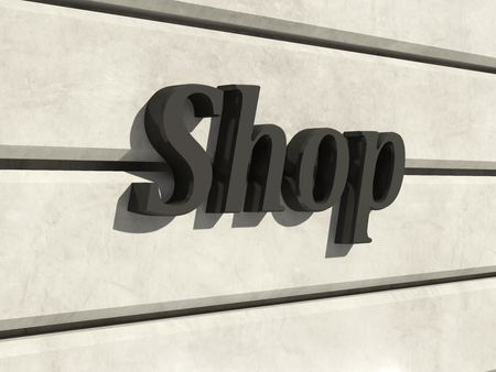 forepart: Shop Sign on a Facade of the Building. 3D Rendering