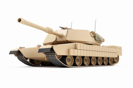 Tanque militar pesado aislado sobre fondo blanco. Representación 3D. Foto de archivo