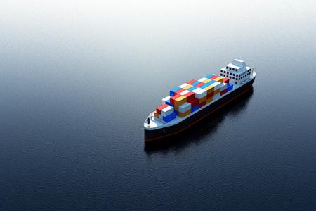 Luchtfoto van vrachtschepen die zeilen over de oceaan. 3D-rendering