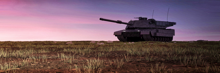 Heavy Military Tank in Battlefield Landscape at Sunset with Purpul Sky. 3D Rendering