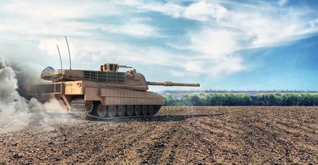 Heavy Military Tank in Battlefield. 3D Rendering