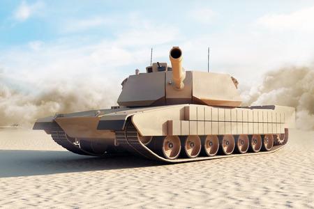 tank: Heavy Military Tank in Desert. 3D Rendering. Stock Photo