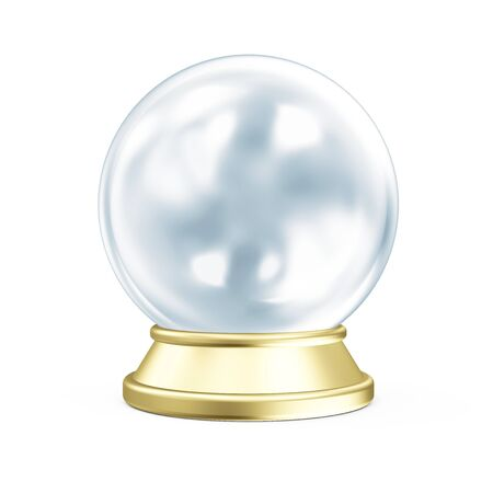 prediction: Empty Blue Crystal Ball with Golden Stand isolated on white background. 3D Rendering Stock Photo