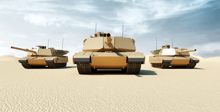 Front View on Group of Heavy Military Tanks Movin in Desert Landscape. 3D Rendering
