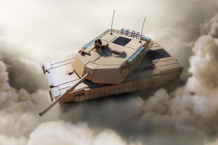 Heavy Military Tank in Desert. 3D Rendering