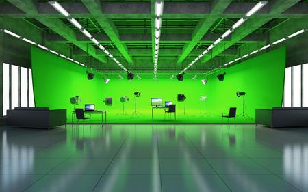 Gran pabellón interior de la moderna Plató de cine con pantalla verde e iluminación. Representación 3D